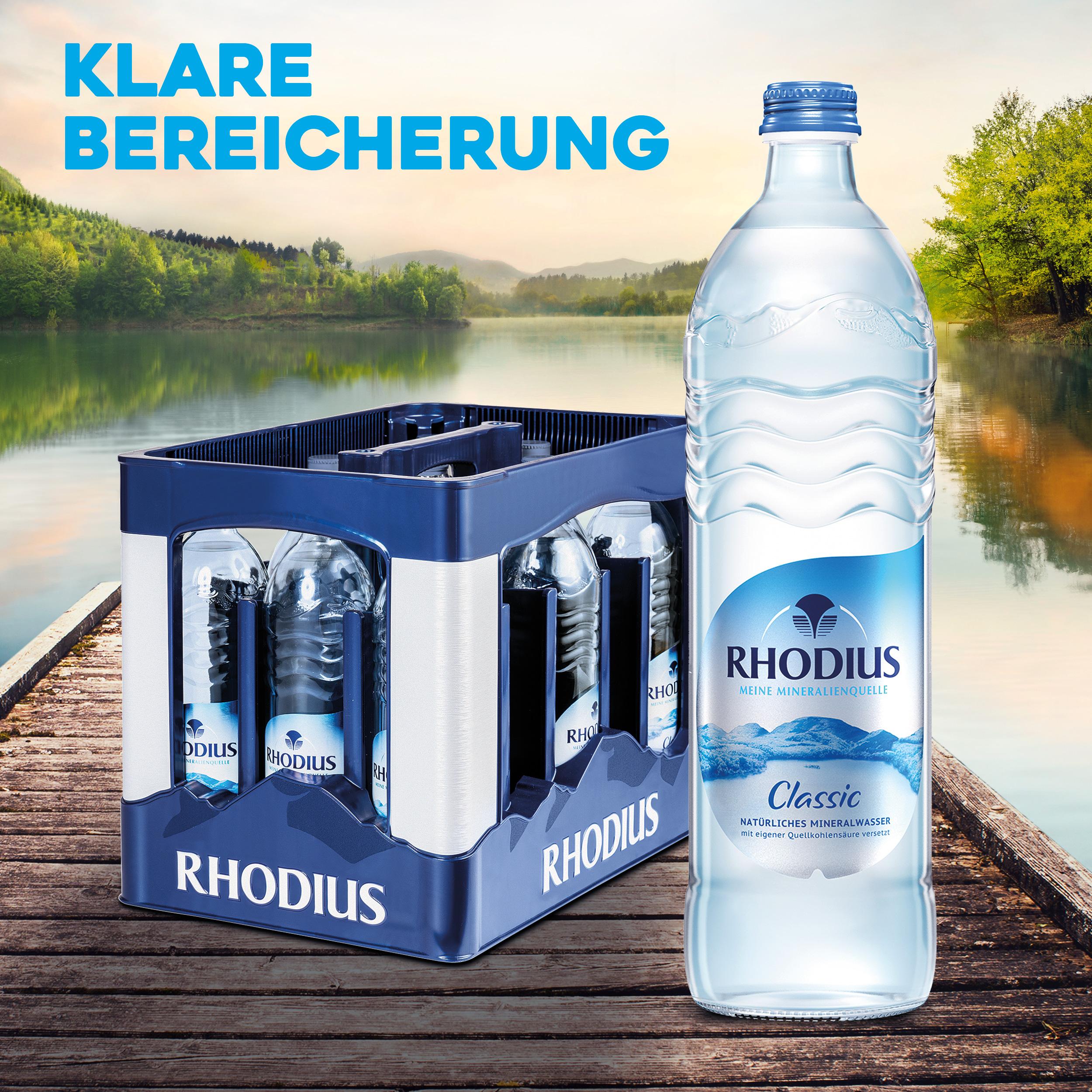 RHODIUS Mineralquellen führt neues 12 x 0,75 L Design-Glasgebinde ein